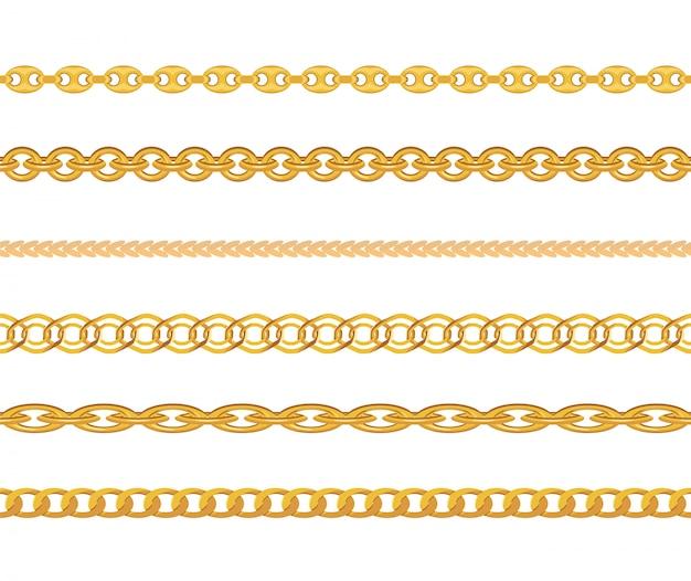 Gold chain jewelry seamless pattern