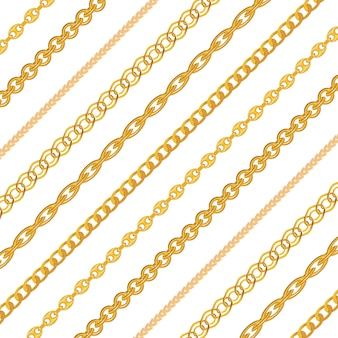 Gold chain jewelry seamless pattern