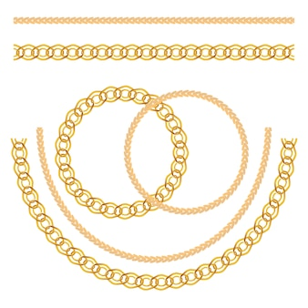 Gold chain jewelry set isolated