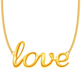 Gold chain necklace with love word pendant illustration. golden decoration jewellery