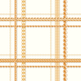 Gold chains and and beads on white luxury seamless pattern.