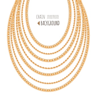 Gold chains necklace abstract background