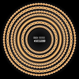 Gold chains round frame template on black background