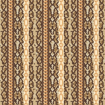 Gold chains snake skin seamless pattern