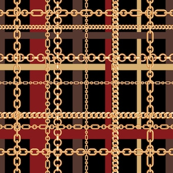 Gold chains tartan seamless pattern