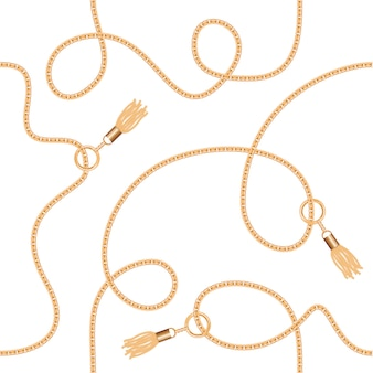 Gold chains with tassels seamless pattern.