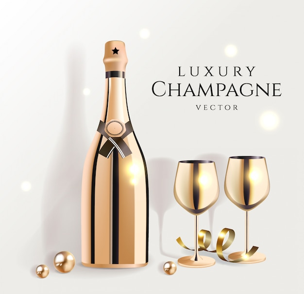 Gold champagne bottles with wine glasses, luxury festive alcohol products for celebration,  illustration.