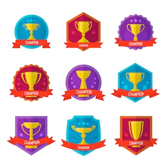 Gold champion cup isolated badge set