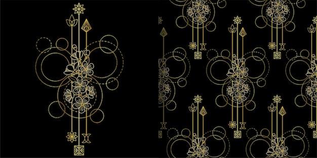 골드 체리 꽃 인쇄 및 원활한 패턴 세트