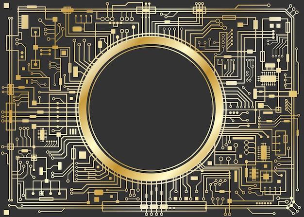 블랙에 골드 칩셋 디지털 배경입니다. cpu 기술 개념입니다. 벡터 가로 그림입니다.