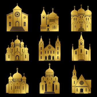 Gold christian church icons on black background