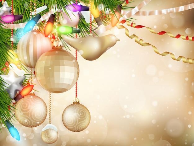 飾られた木とデフォーカスライトのゴールドのクリスマス背景。