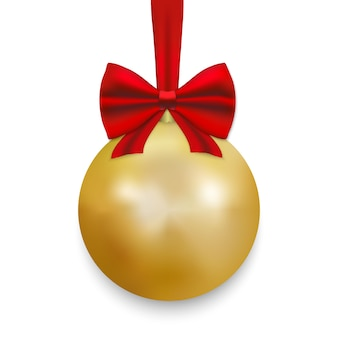 Gold christmas ball with ribbon and a bow