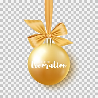 Gold christmas bauble with ribbon and bow on transparent background.  illustration