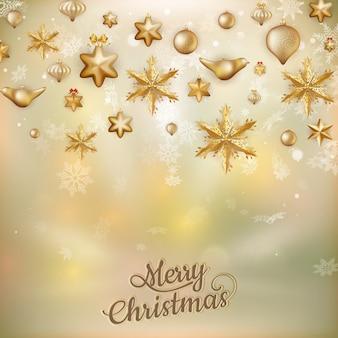 Золотые рождественские безделушки фон расфокусированные золотые огни. неглубоко фо.
