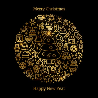 Золотые рождественские линии искусства иконки расположены в шар векторной иллюстрации