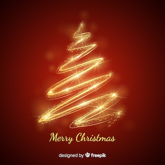 Gold christmas tree background