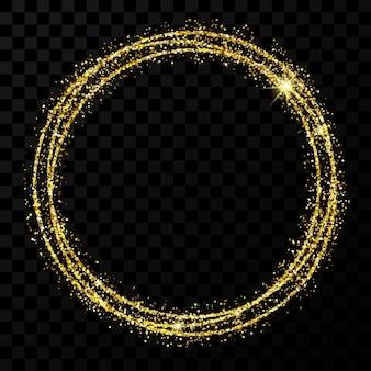 Рамка золотой круг. современная блестящая рамка со световыми эффектами, изолированные на темном прозрачном фоне. векторная иллюстрация.
