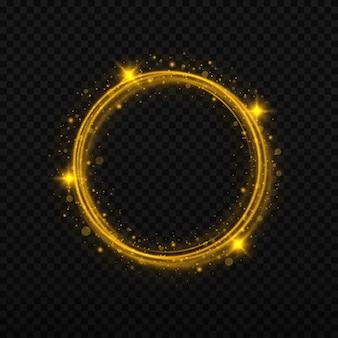 반짝이 조명 효과가 있는 골드 서클 프레임 황금 플래시가 빛나는 링에서 원을 그리며 날아갑니다.