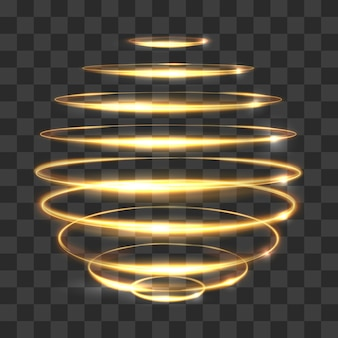Gold circle light tracing effect