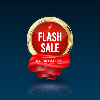 Gold circle sale banner  3d style for flash sale promotion.