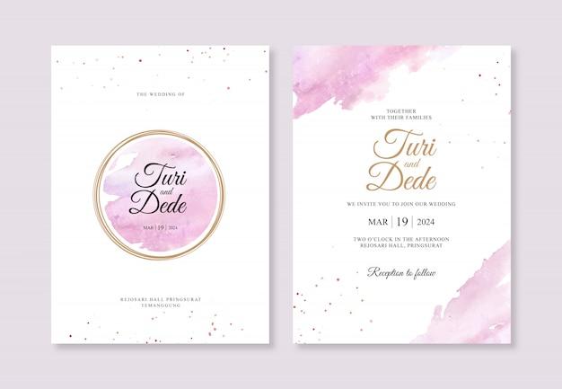 金の円と結婚式の招待状テンプレートの水彩水しぶき