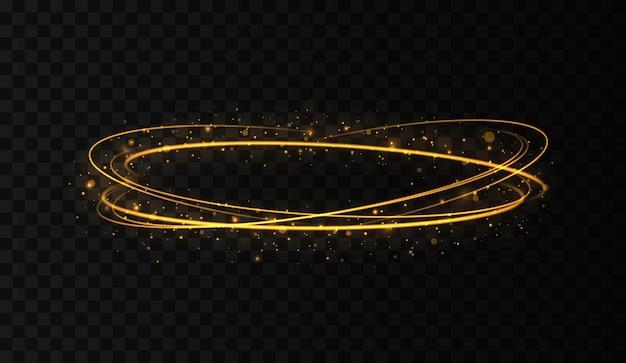 반짝이 조명 효과가 있는 골드 서클 프레임 빛나는 링에서 황금 플래시가 원을 그리며 날아갑니다.