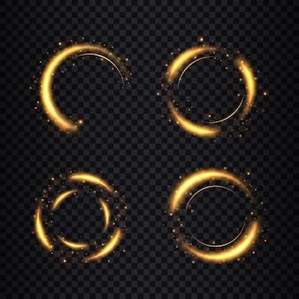 Рамки золотые круги с эффектом блеска