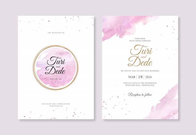Gold circles and watercolor splashes for wedding invitation templates