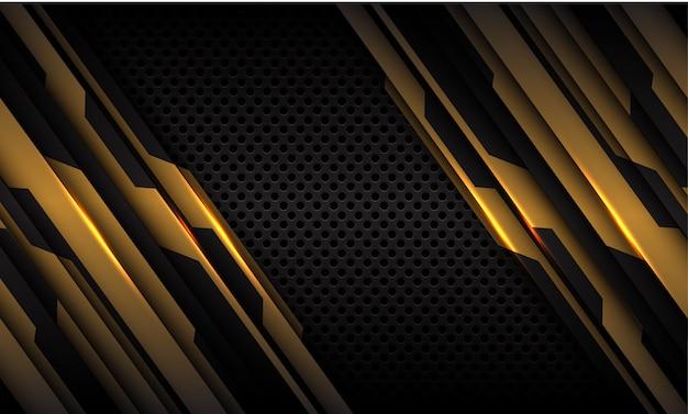 Золотая цепь металлический темно серый круг сетки футуристический фон технологии.