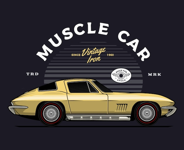 Gold classic car illustration