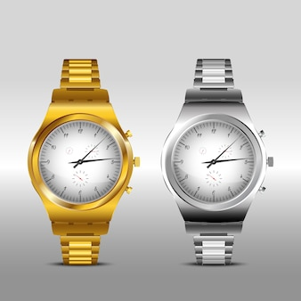 Gold and classic metal watches on white background