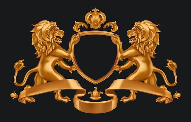 Gold coat of arms lions and crown. 3d shield on blak