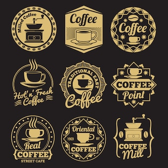 Gold coffee shop labels on black backdrop