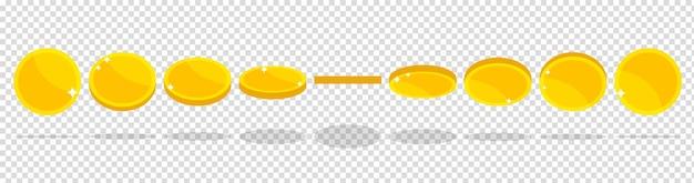 ゲームやアプリの金貨アニメーションさまざまな形や位置の金貨お金が振り返る