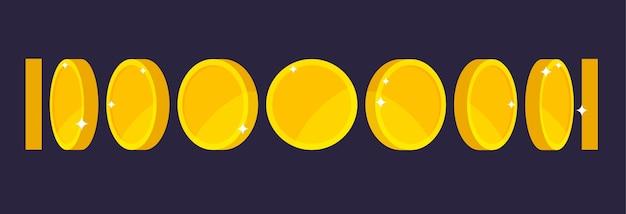 Анимация золотой монеты для игры или приложения