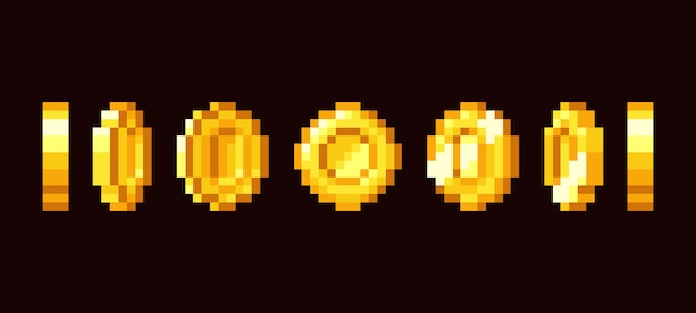 Gold coin animation frames for bit retro video game.