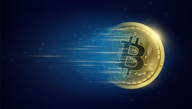 Золотая монета биткойн на карте мира криптовалюта технология интеллектуального анализа больших данных