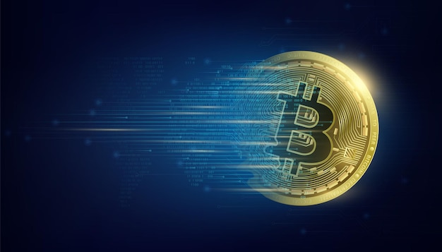 Gold coin bitcoin on world map crypto currency big data information mining technology