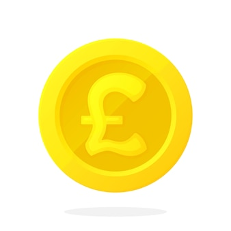 Gold coin of british pound cash money symbol of business economy and finance vector illustration