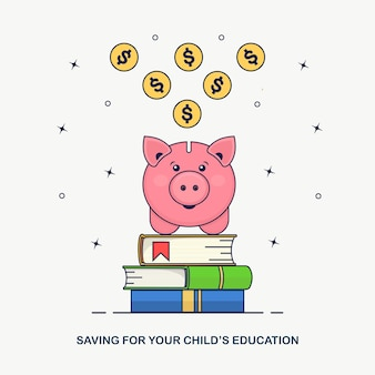 금화, 돼지 저금통에 떨어지는 현금. 교육 투자. 책 더미, 연구 비용 절감