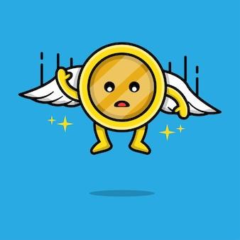 Gold coin falling cartoon illustration