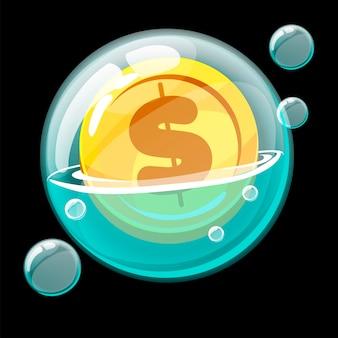 Золотая монета значок в большом мыльном пузыре. мультфильм пузырь и денежная валюта.