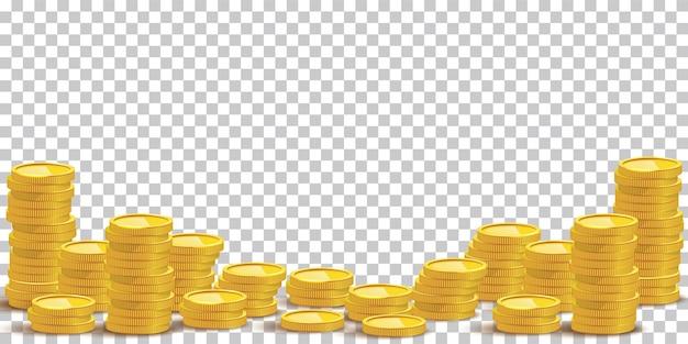 Золотая монета стеки макет иллюстрации денежная куча богатства, изолированные на прозрачном фоне