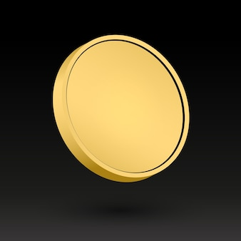 Gold coin template 3d object vector illustration golden metal medal metallic clear disk