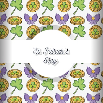 Gold coin with clover and ribbon bow background