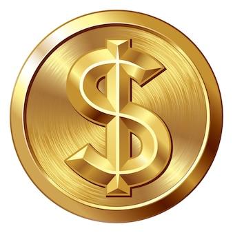 Золотая монета с иллюстрацией знака доллара