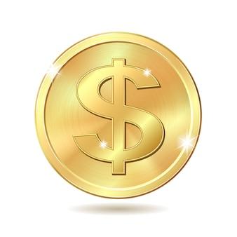 Золотая монета со знаком доллара. на белом фоне