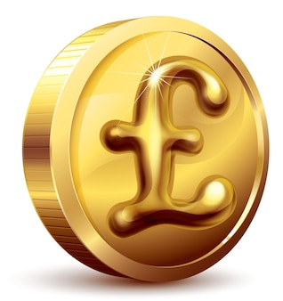 Gold coin with pound symbol