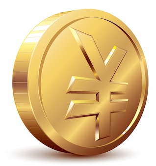 Gold coin with yen symbol